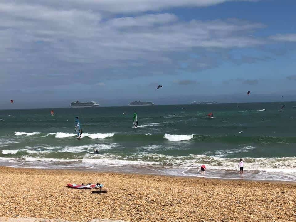 Cruise ships viewed from Cafe Oasis Overcombe Beach weymouth